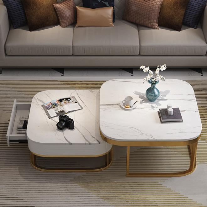 Nordic Marble Designer Dual Function Coffee Table with drawer
