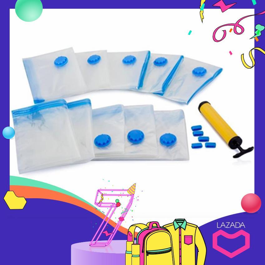 Free Pump + Promotion 8PCS 60x40cm Small Vacuum Bag Vacuum Compression Bag (Transparent)