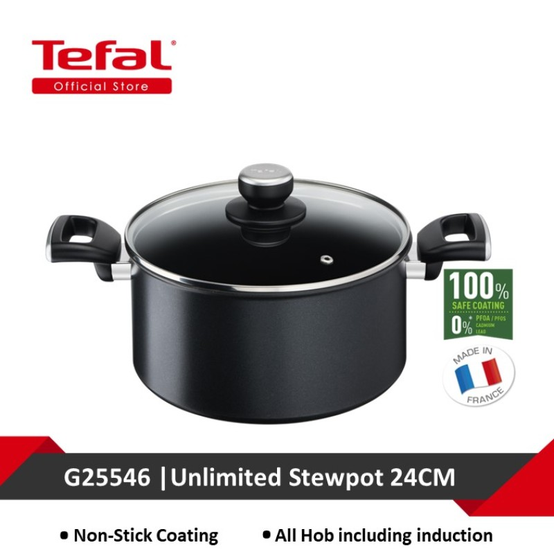 Tefal Unlimited Black IH Stewpot 24cm w/lid G25546 Singapore