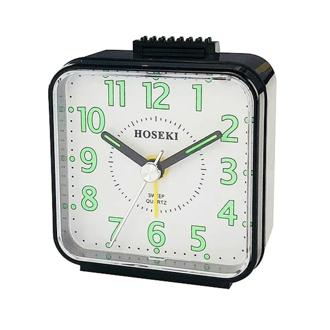 Hoseki Sweep Quartz Black White Square Analog Beep Alarm Clock H-9064BK/W H-9064