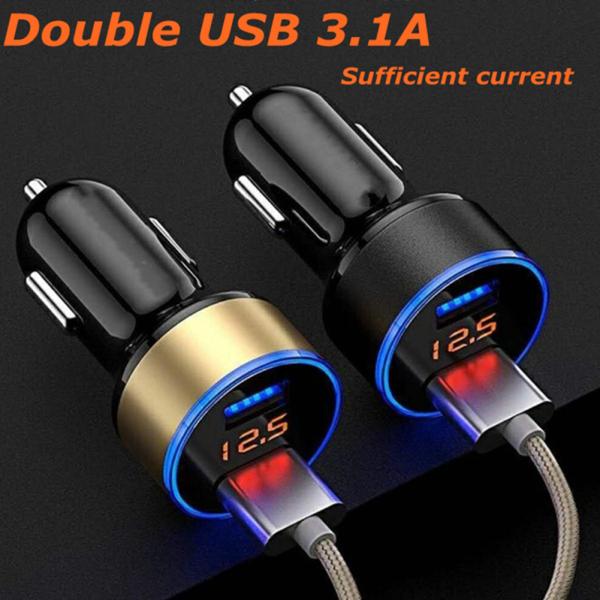 【Hàng Có Sẵn】bộ Chuyển Đổi Sạc Trên Xe Hơi 5V 3.1A Màn Hình Kỹ Thuật Số LED USB Kép Tiện Dụng