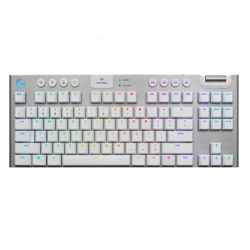 Logitech G915 TKL Tenkeyless Lightspeed Wireless / Bluetooth Lightsync RGB Mechanical Gaming Keyboard-White Singapore