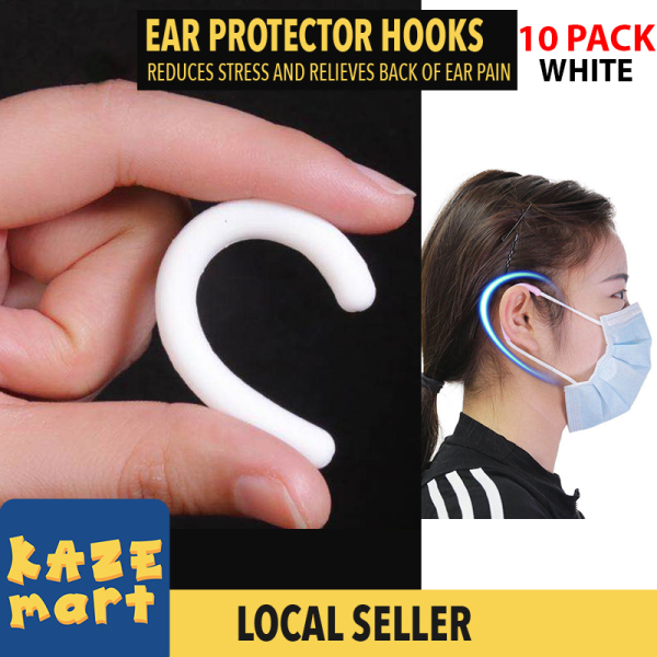 Ready Stock SINGAPORE 10 pack Ear Protector for Face Mask Reusable Silicone Ear Caps for Mask Ear Hooks for Adults/Kids BLACK OR WHITE