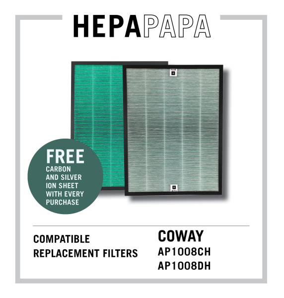 Coway AP1008CH / AP1008DH Compatible Replacement HEPA Filter with Green Anti-bacterial Coating [Free Carbon and Silver Ion Filters] [Free Alcohol Swabs] [HEPAPAPA] Singapore