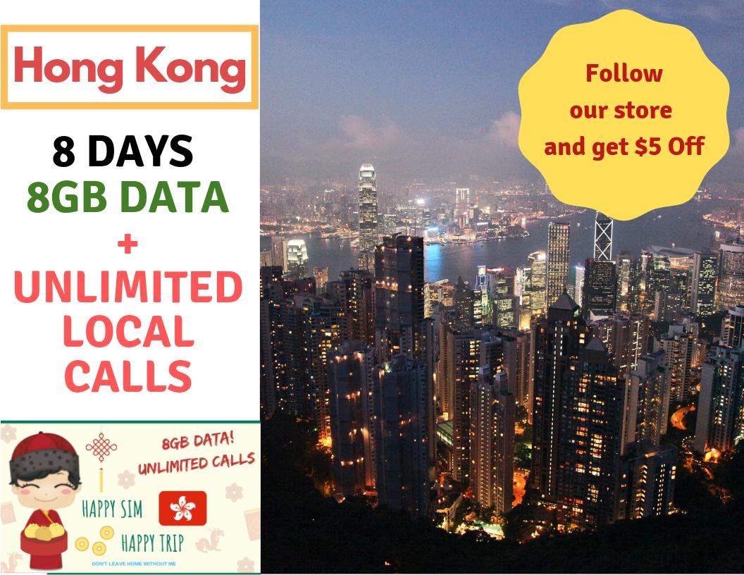Hong Kong 8 Days 8gb Data Sim By Brightline Happysim.