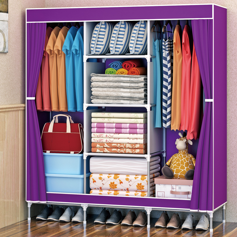 Shome nuo Simplicity Cloth Wardrobe Large Size Thick Nonwoven Fabric bu yi chu Reinforced Steel Tube Component Wardrobe