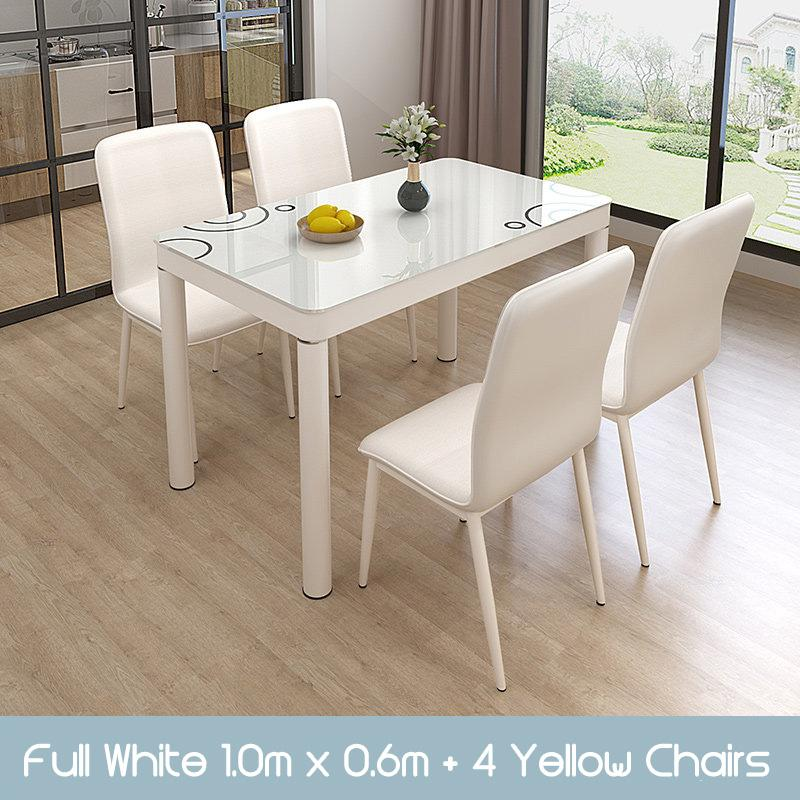 GJ Dining Table and Chairs set tempered glass splash proof easy clean scandinavian modern stylish classy man woman family home owner living room HDB black white [Delivery Within 3 Weeks]