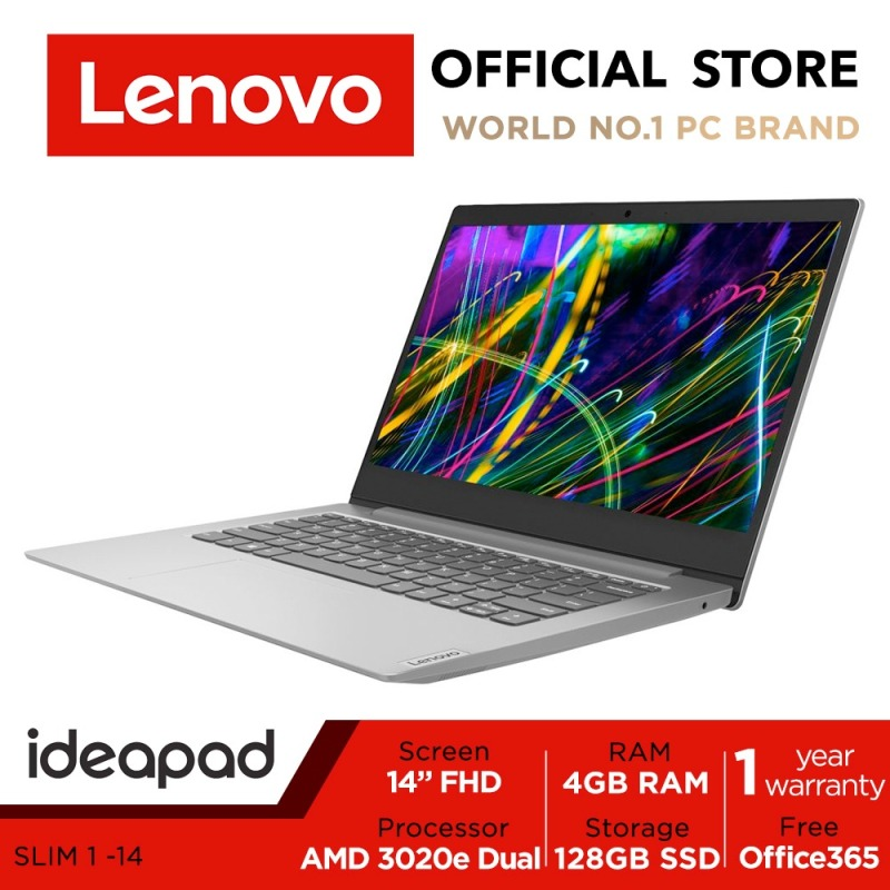 【Office 365】Lenovo ideapad 1i | 14inch FHD | AMD 3020e | 4GB RAM | 128GB | AMD Radeon Graphics | 1Y Lenovo warranty | Win10 | Free Office 365