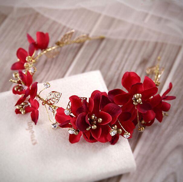 Màu Đỏ Màu Đỏ Đậm Bông Hoa Vàng Bất Kỳ Cong Chi Lá Bờm Tóc Hoa Cài Tóc Phong Cách Trung Hoa Cưới Cô Dâu Mũ Lễ Phục Với