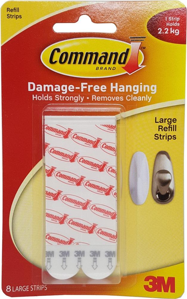 3M COMMAND LARGE REFILL 8 STRIPS 17023P