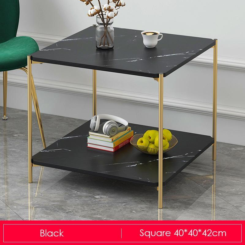 Black Marble Print Gold Metal Contemporary Square Coffee Table