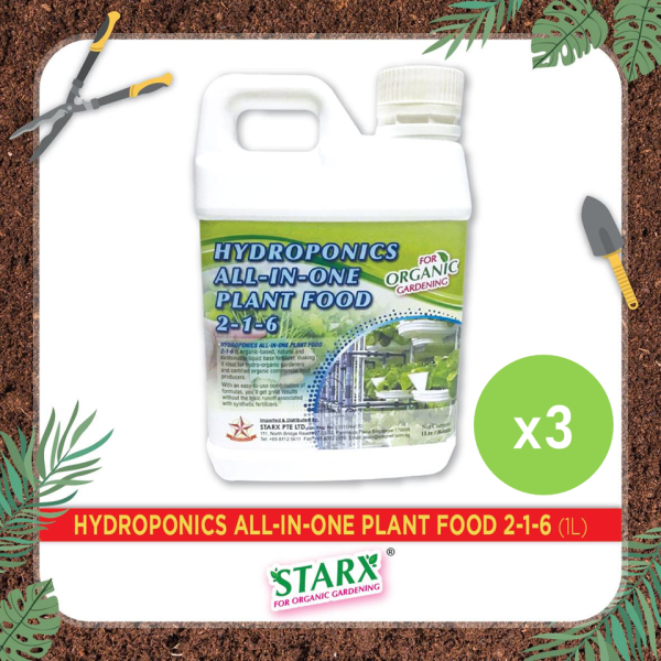 [BUNDLE OF 3] Hydroponics All-In-One Plant Food 2-1-6 (1 litre) for organic gardening