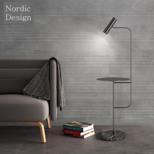 Modern Standing LED Lamp Light Natural Marble Base Bedside Table 2-in-1 Standing Light Free Installation  Free Delivery
