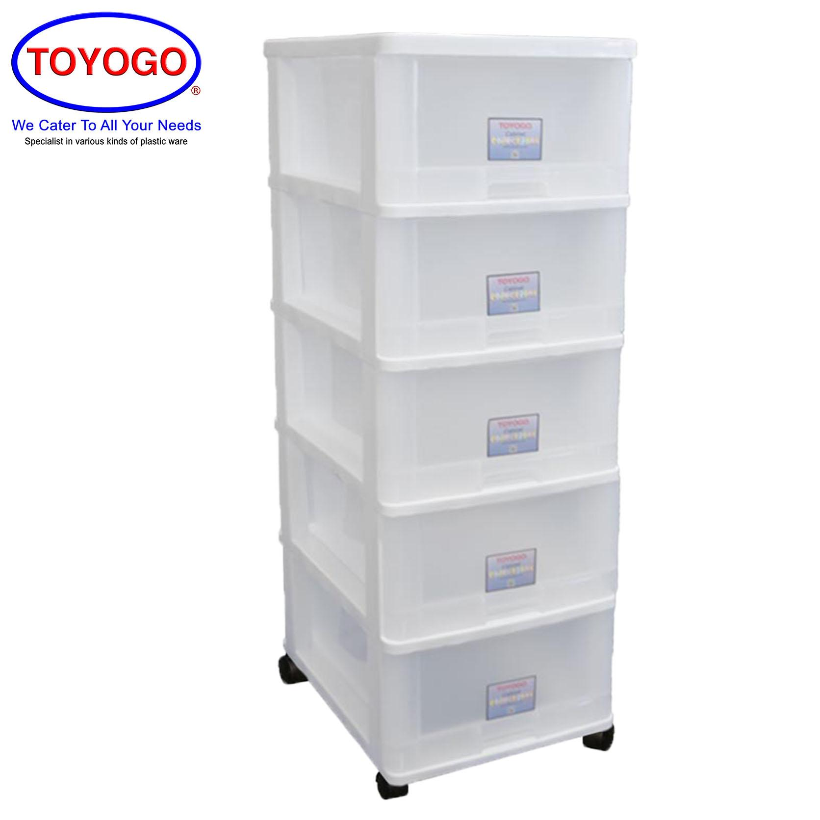Toyogo Plastic Storage Cabinet / Drawer With Wheels (5 Tier) (807-5)