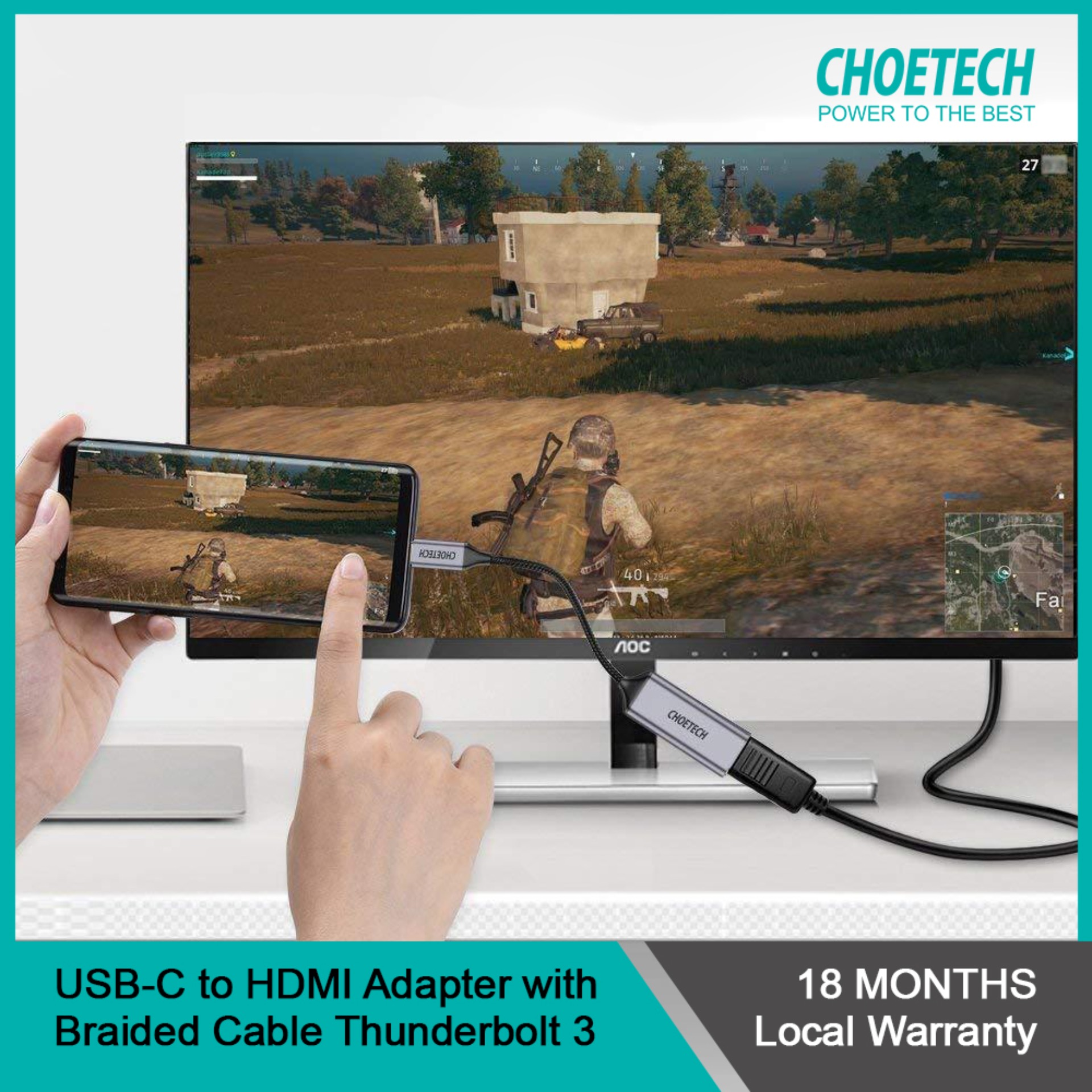 CHOETECH USB-C to HDMI Adapter With 4Kx2K, 60Hz Braided Cable Thunderbolt 3