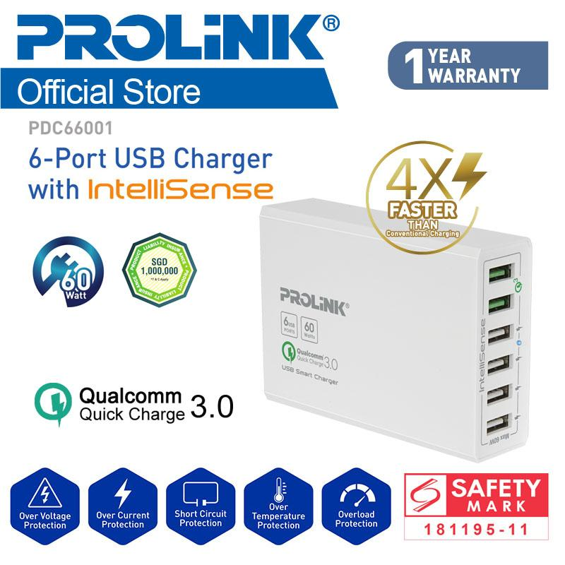 [promo] Star Buy! Prolink Pdc66001 60w 6-Port Usb Charger With Intellisense With Usb X4 And Qc3.0 Usb X2 (charge 4x Faster) By Prolink.