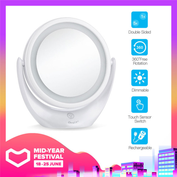 Buy CkeyiN LED Makeup Mirror Double-Sided Vanity Mirror with 360 Degree Swivel Magnifying and Touch Screen for Home Tabletop Bathroom, Rechargeable Singapore