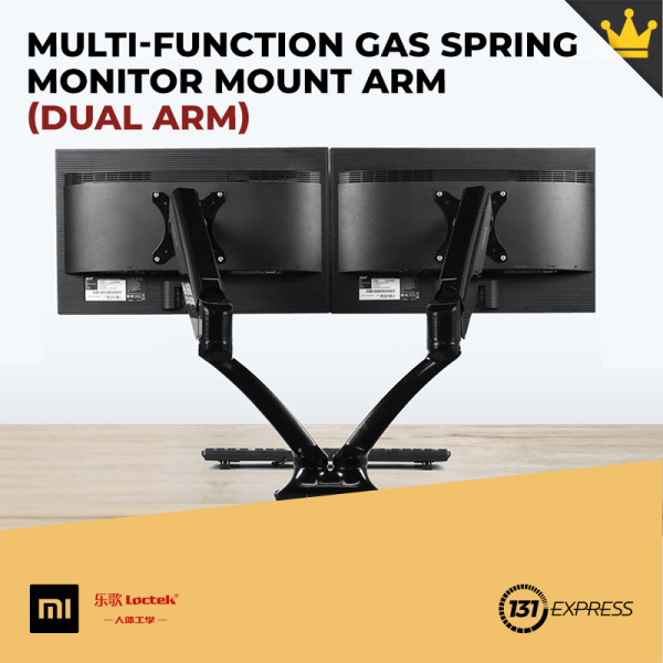 Xiaomi Loctek Multi-Function Gas Spring Monitor Mount Arm [ Standard Edition, 2 Models, 360° Rotatable, 3-Axis Dynamic Rotation, Adjustable Tilt, Height, 9kg Load Bearing, Vertical Hover, Desk Space Saving, Easy Install, Bracket, Computer Accessory ]