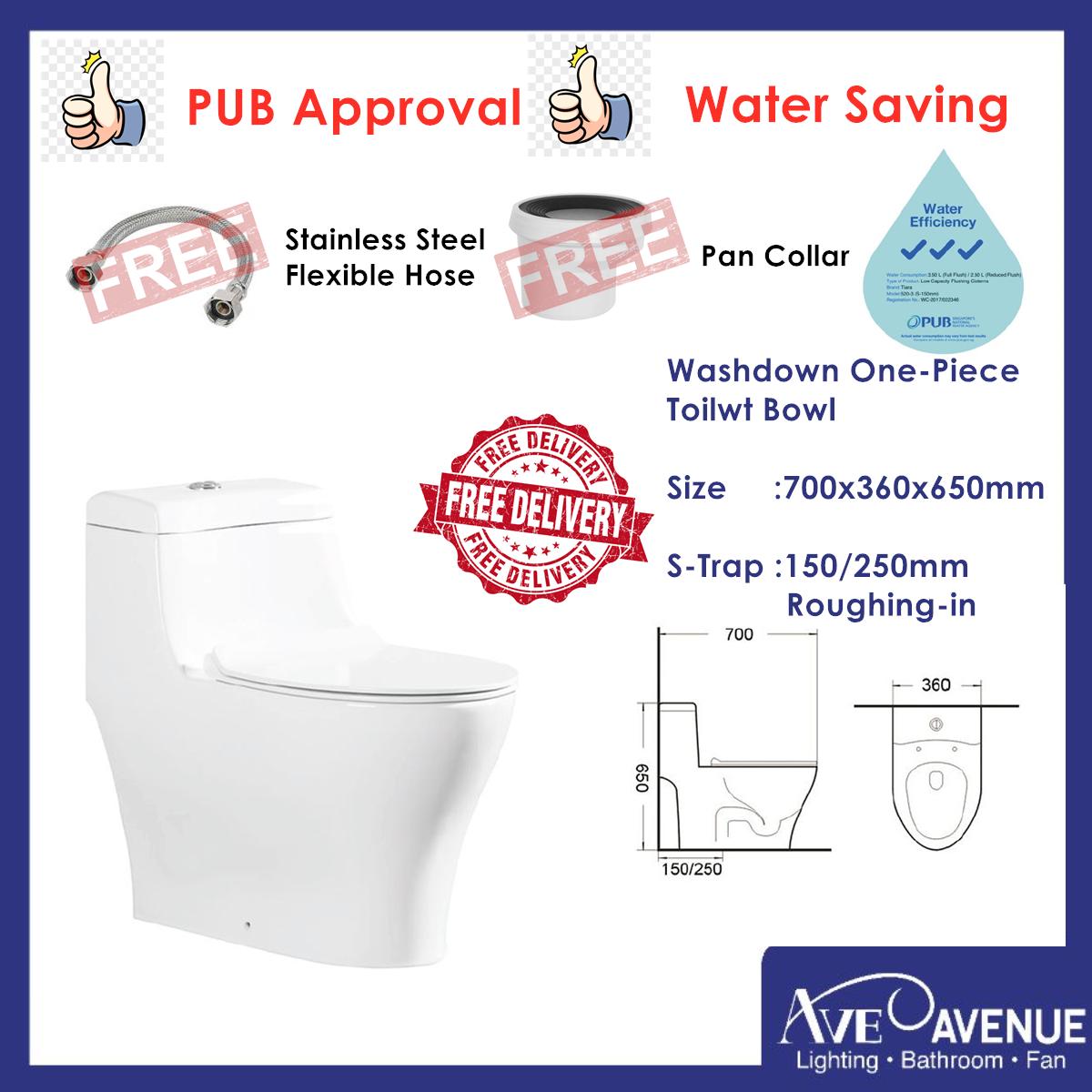 Tiara Water Saving One Piece Toilet Bowl Water Closet T-E20