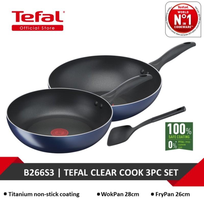 Tefal Clear Cook 3pc Set (FryPan 26cm+ WokPan 28cm + Spatula) B266S3 Singapore