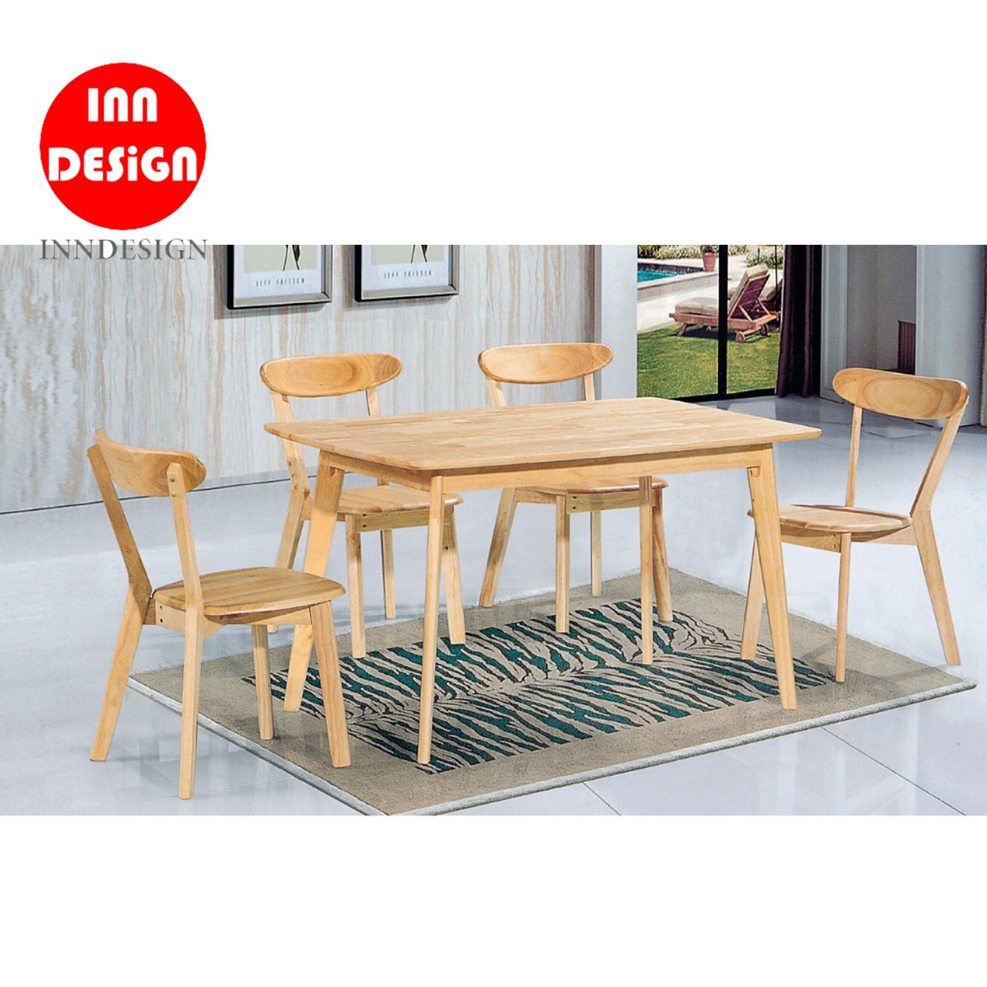 Magne 1+4 Dining Set (Solid Wood) (Free Delivery and Installation)
