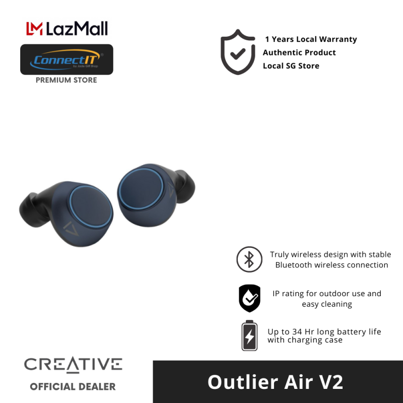 Creative Outlier Air v2 True Wireless Earbuds With Bluetooth 5.0, Long Battery Life And Sweat Proof , Touch Control ( 1 Year Local Warranty ) Singapore