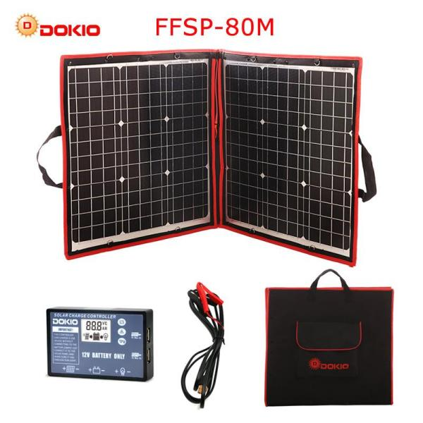 Dokio 80W(40W*2) 18V Flexible Foldble Solar Panel With 12V USB Charge Controller Portable Solar Cell Kit For Boats/Out-door Camping
