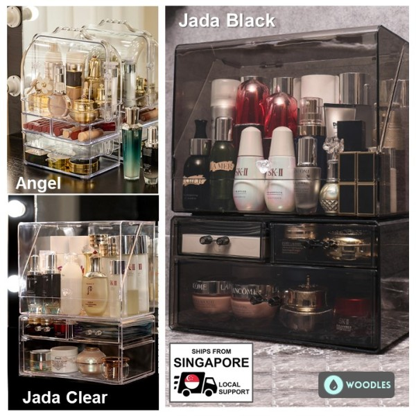 Buy [SG Ready Stock] Woodles Cosmetics Makeup Dust-FREE Organizer★Large-XL Sizes★Quality Portable Thick Acrylic Storage Organiser Waterproof★Ship From Spore★Local After-Sales Support Singapore