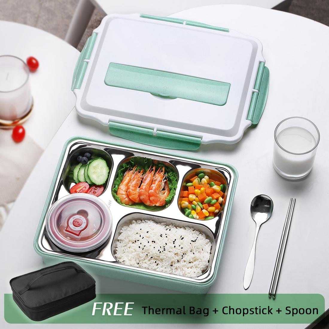 28b424f30179 ONEISALL Thermal Lunch Box With Bag Set Stainless Steel Kid Adult Bento  Boxs Leak-proof Food Container Portable Picnic Storage (Free Bag+ Spoon)