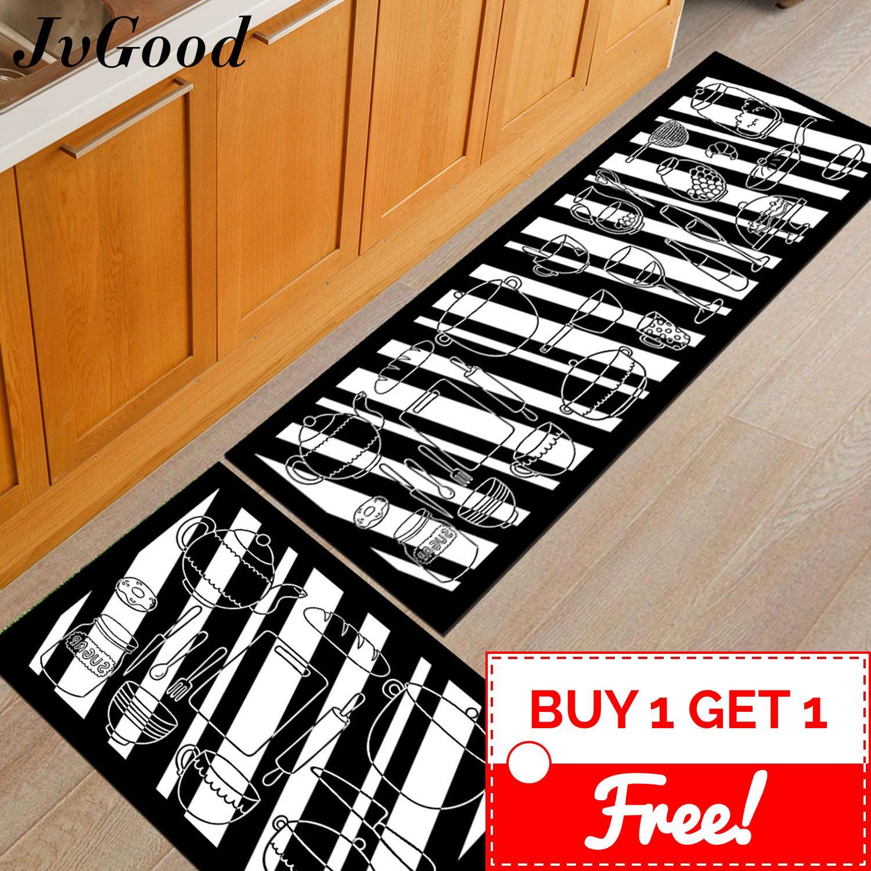 JvGood Kitchen Utensils Design Antislip Carpet (120cm x 40cm) Free (60 x 40cm) Soft Flannel Carpet Rug Floor Mat Kitchen Dapur and Bathroom