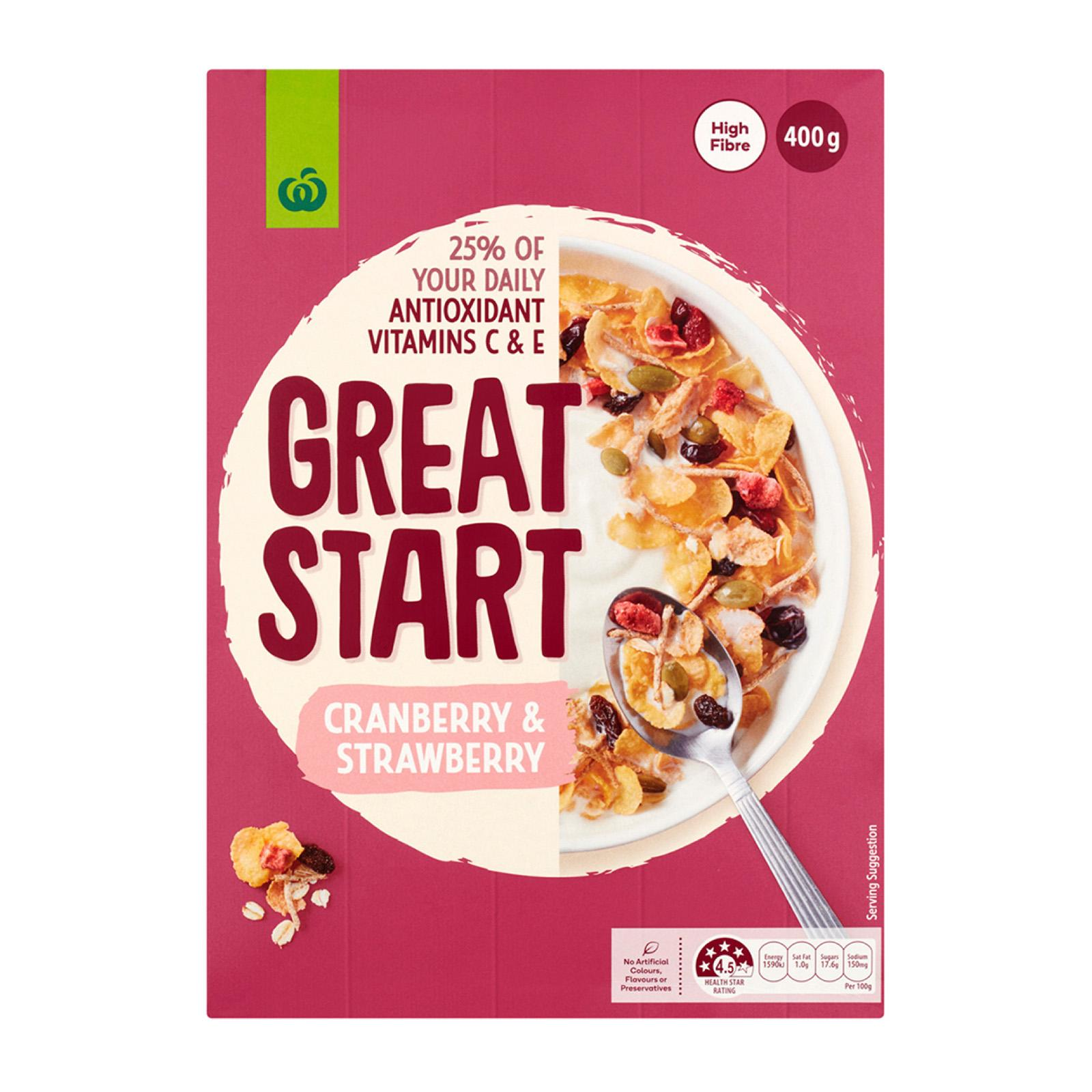 Woolworths Great Start Antioxidant Fruity Cereal With Cranberry And Strawberry 400G