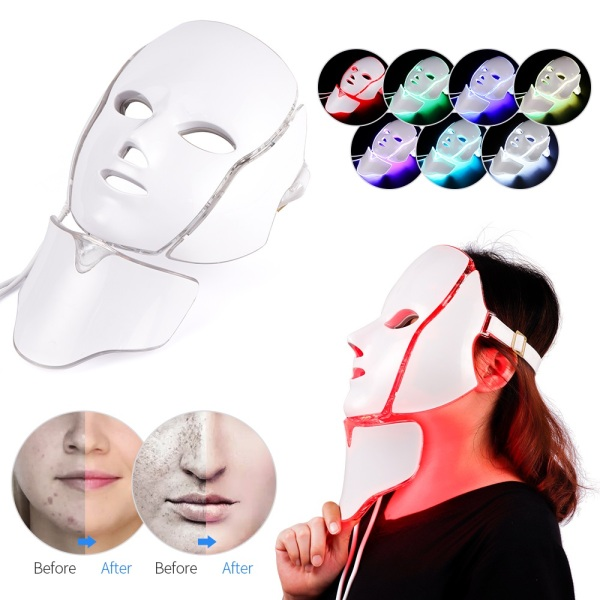 Buy Foreverlily 7 Colors Light LED Facial Mask With Neck Skin Rejuvenation Anti Acne Photon Therapy Whitening Tightening Instrument Singapore
