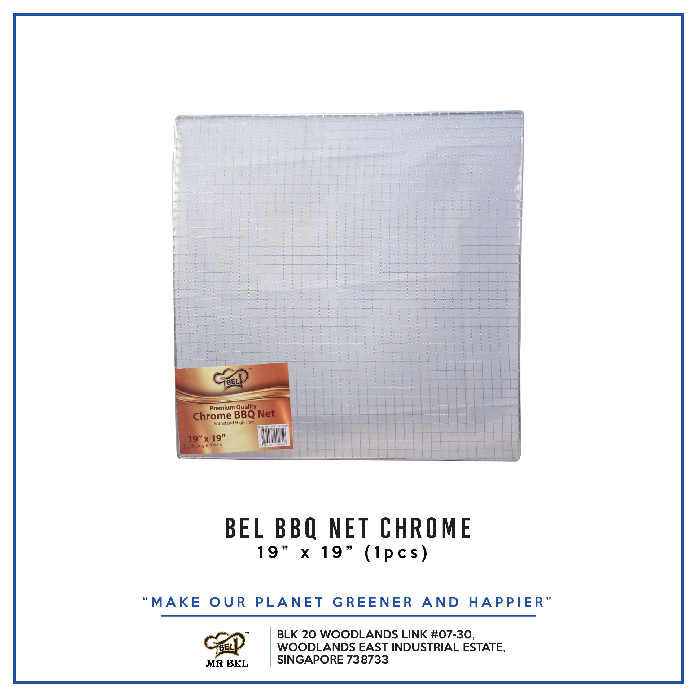 Bel BBQ NET 19  X 19  CHROME per pack - 1 Carton (20packs)