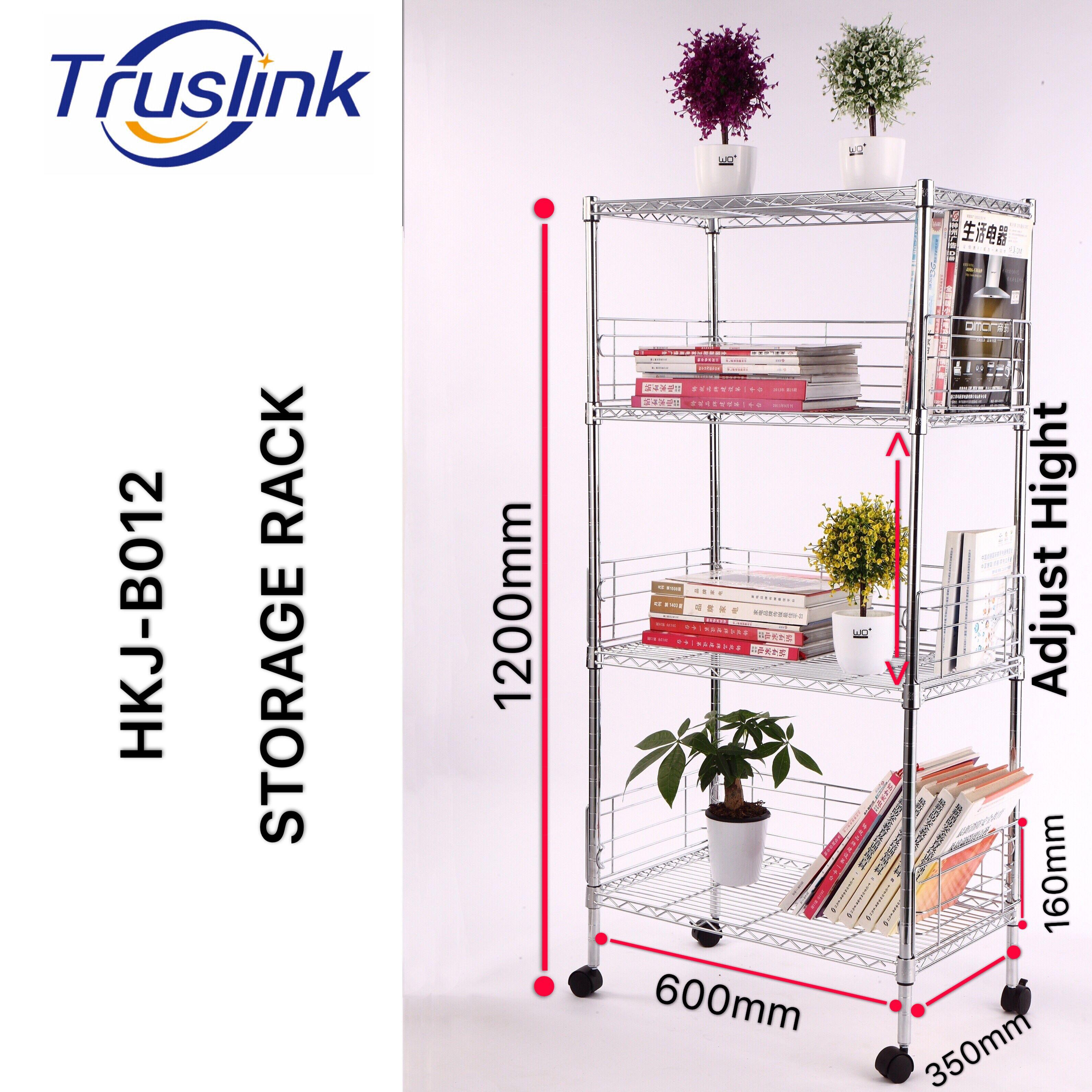 [SG Seller] Truslink  4 Tiers Waterproof Anti-corrosion Height Adjustable Multi-purpose Shelving Unit Storage Organisation Rack With wheels Suitable for Office、Kitchen、Living、Storage Room--Linear Space HKJ-B012