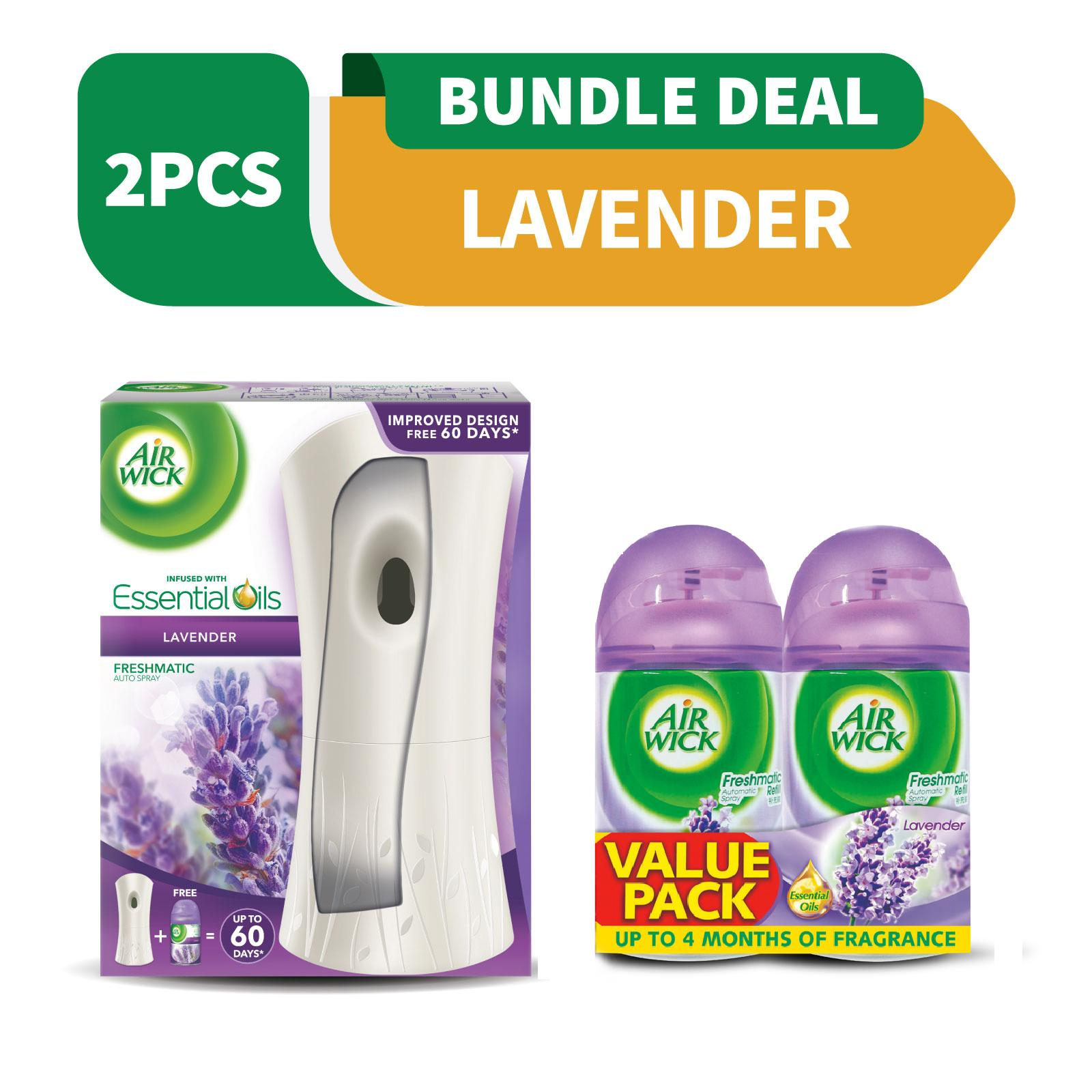 Air Wick Lavender Freshmatic Automatic Spray Starter Kit  + Air Wick Lavender Freshmatic Automatic Spray Refill Twin Pack 250ML x 2