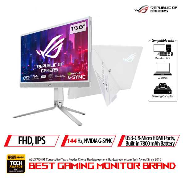 ASUS ROG Strix XG16AHP-W Portable 144Hz Gaming Monitor — 15.6-inch FHD (1920 x 1080), 144 Hz, IPS panel, NVIDIA G-SYNC compatibility, non-glare, built-in 7800 mAh battery, fold-out kickstand, USB Type-C, micro HDMI, embedded ESS amplifier