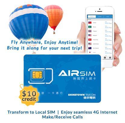 Airsim 3-In-1 Sim Card - Value: $10 4g/3g Fly Anywhere Enjoy Anytime! By Airsim.