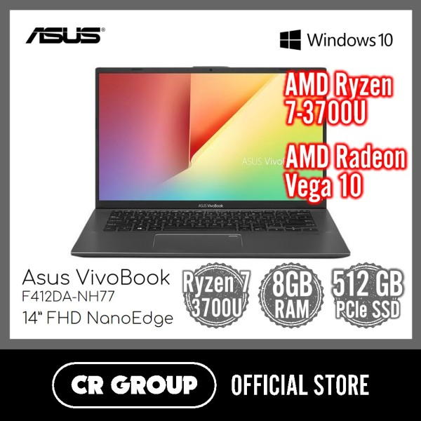 Asus VivoBook F412DA 14 Inch Full HD | AMD Ryzen 7-3700U | 8GB DDR4 RAM | 512GB PCle SSD | AMD Radeon RX Vega 10 Graphics