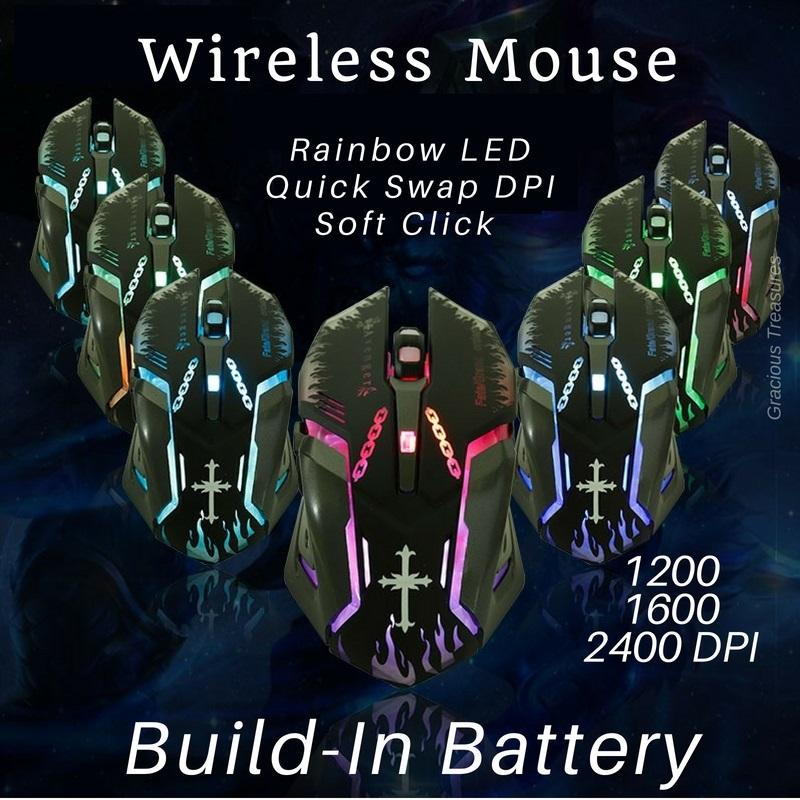 Build In Battery 2.4GHz Wireless Gaming Mouse Rainbow LED 2400 DPI Quick Swap Soft Silent Button