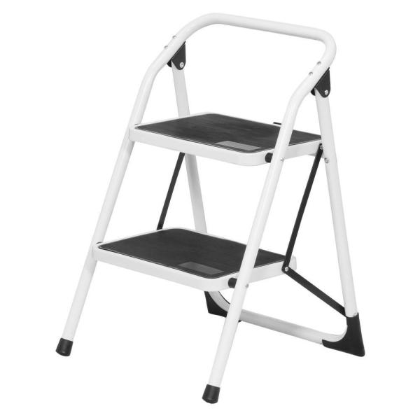 Sardo 2 step stool step foldable ladder. Fitted with anti-slip pad on each steps. Light and compact. 2 Step Ladder