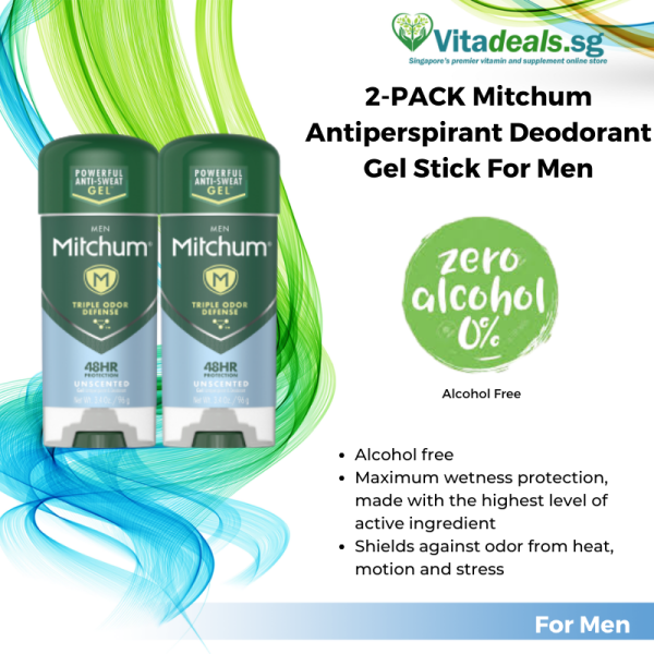 Buy 2-PACK Mitchum Antiperspirant Deodorant Gel Stick for Men, Fight Body Odor, Long Lasting, Triple Odor Defense Gel, 48 Hr Protection, Dermatologist Tested, Alcohol Free, 3.4 oz (M02B) Singapore