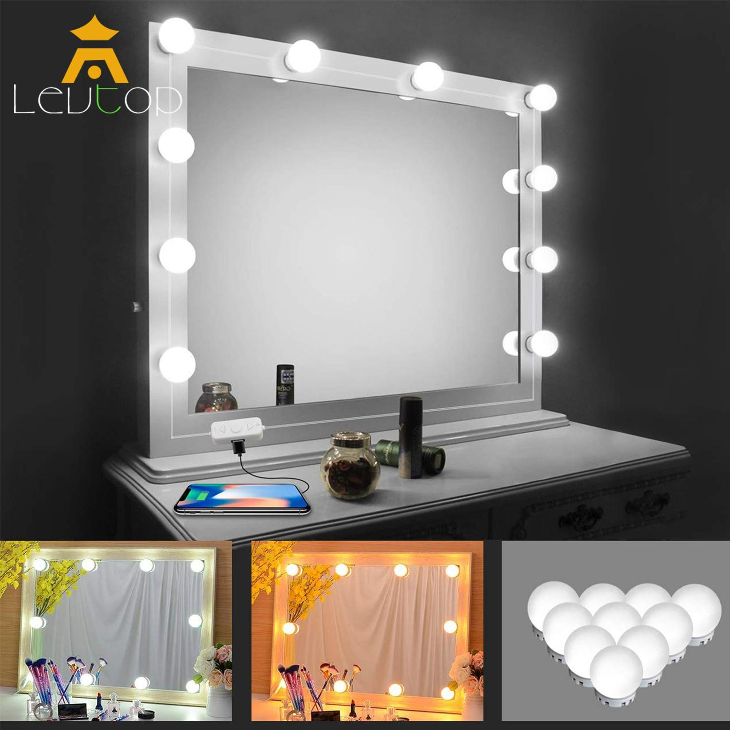 LEVTOP Vanity Mirror Lights Moonnight Hollywood Style LED Makeup Lights with Dimmer and USB Phone Charger Warm and Cold Lights Dimmable Bulbs with USB Support for Bathroom Dressing Room tốt nhất