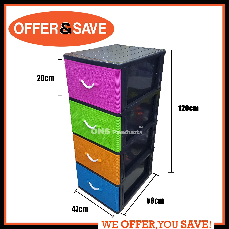 MAXONIC 4  Tier Plastic Drawer Cabinet/Storage Cabinet M9905