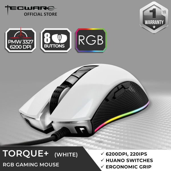 Tecware Torque Plus, RGB Gaming Mouse with PMW3327 6200DPI Professional Gaming Sensor