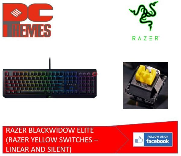 RAZER BLACKWIDOW ELITE MECHANICAL GAMING KEYBOARD (RAZOR YELLOW SWITCHES - LINEAR AND SILENT) Singapore