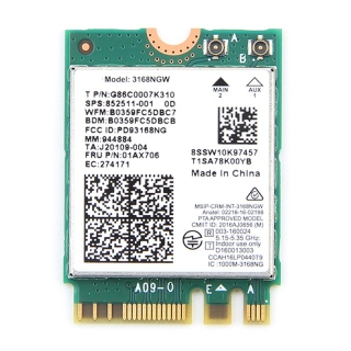 Dual Band Wireless for Intel 3168 3168NGW 433Mbps Bluetooth 4.2 802.11Ac NGFF WiFi Network Card thumbnail