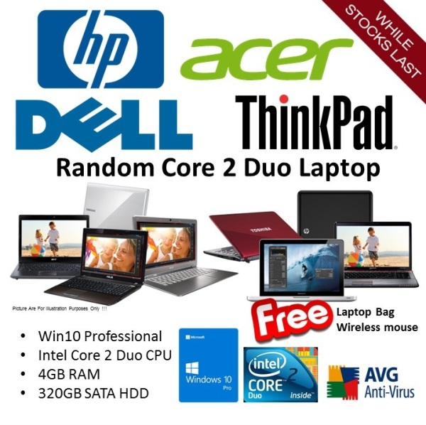 [Refurbished] Random Models HP DELL THINKPAD ACER 12 inch 14 inch inch Intel Core 2 Duo Home & Business Win 10 Pro Laptop - Ready Stock