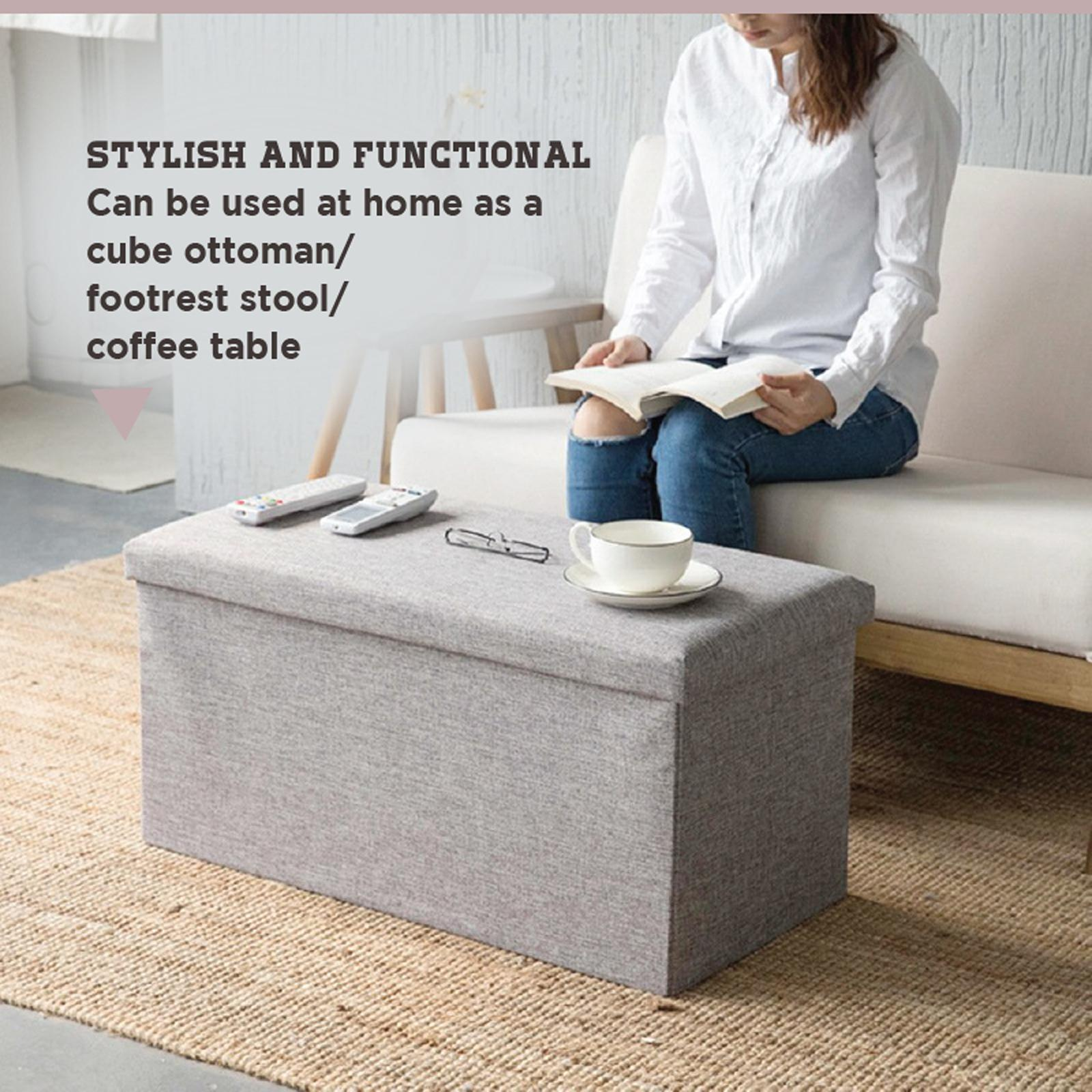 HOUZE Foldable Fabric Storage Stool/Ottomans - Rectangle (Khaki)