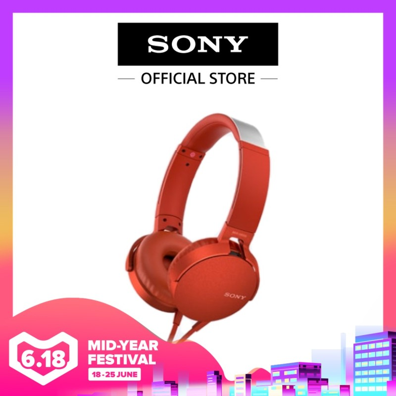 Sony Singapore MDR-XB550AP/ MDRXB550AP Extra Bass Headphone (Red) Singapore
