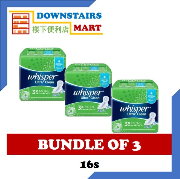 Buy [Bundle of 3] Whisper Ultra Clean Wing 28cm 16s x 3 Singapore